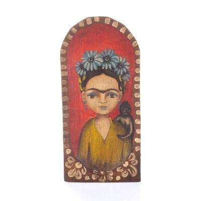 Batea de Madera Pintada Mediana Frida Kahlo