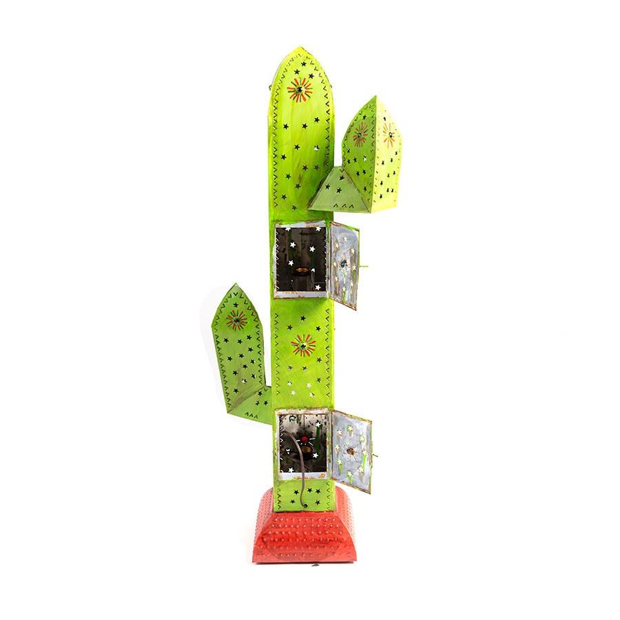 Lámpara de pie con forma de Cactus de hojalata