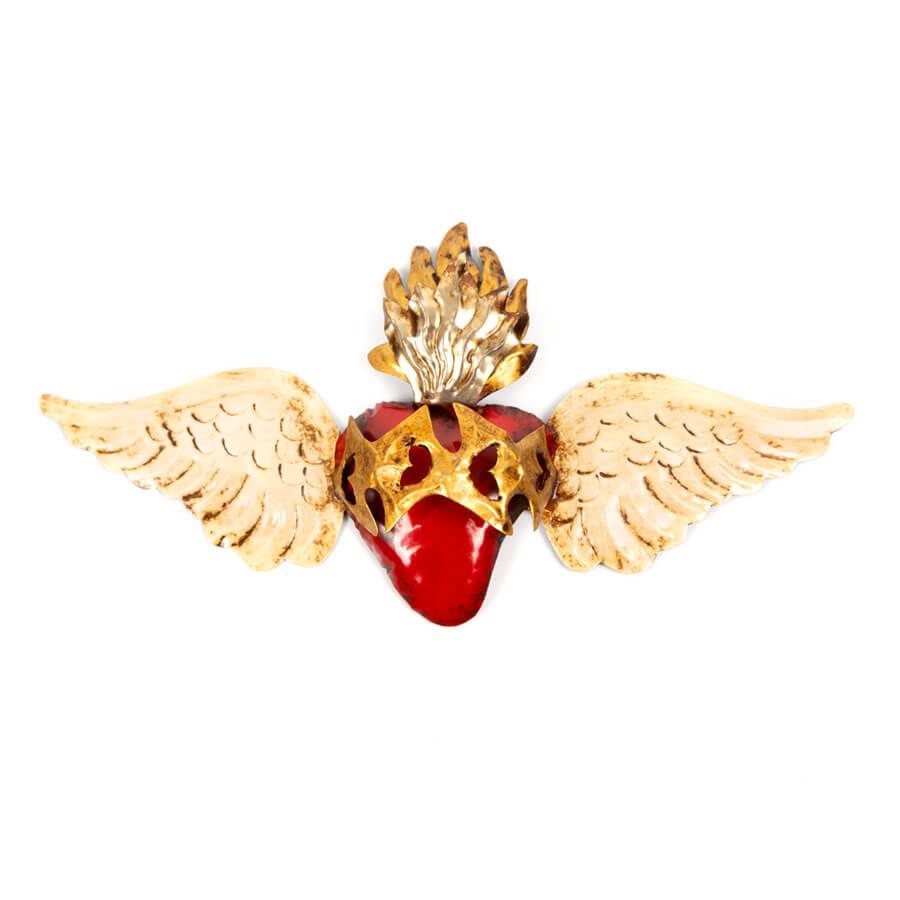 Corazon con alas y espinas de hojalata