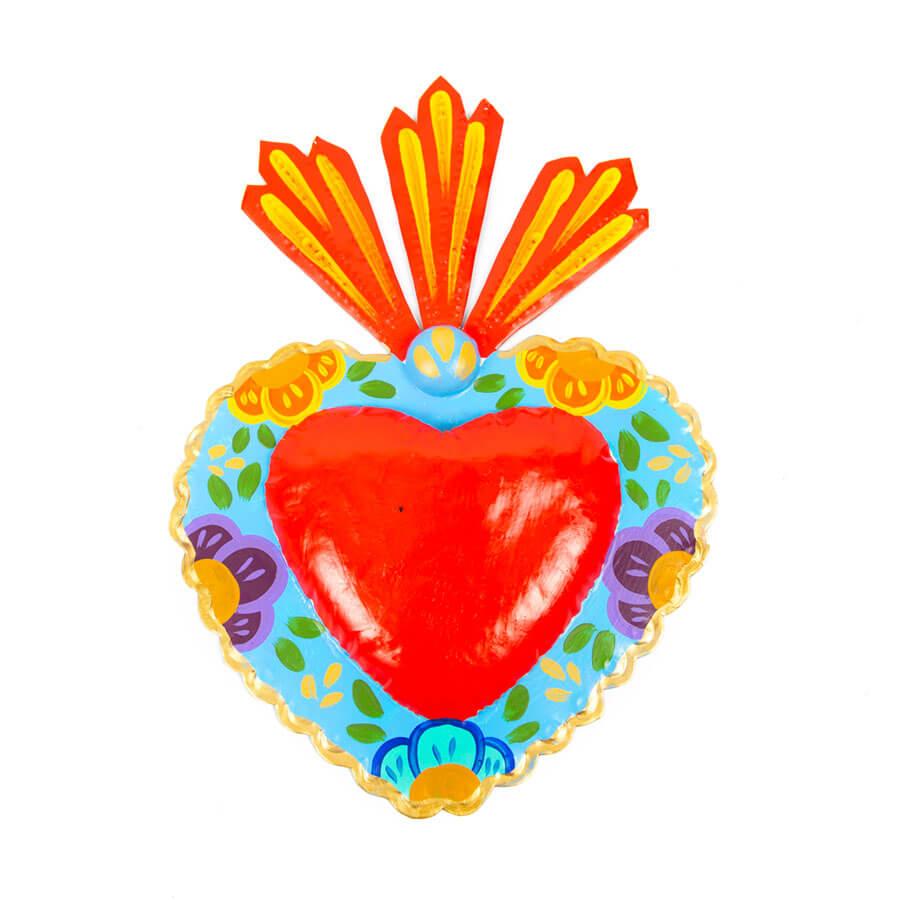 Corazón florido azul