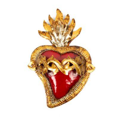 Sagrado Corazón de Hojalata hecho a mano en México
